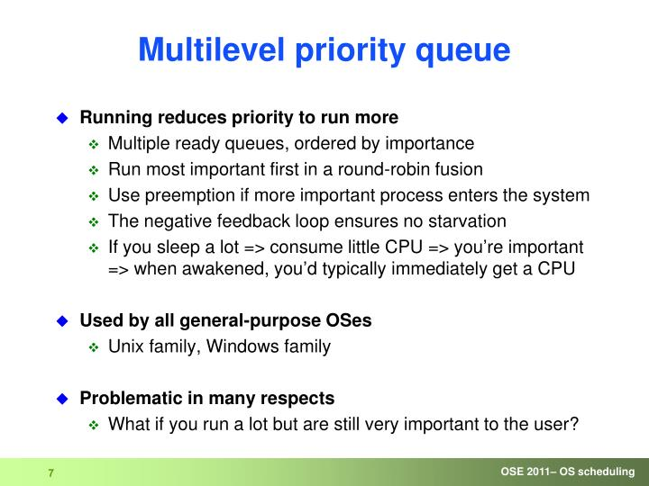 Multilevel priority queue