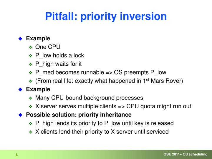 Pitfall: priority inversion