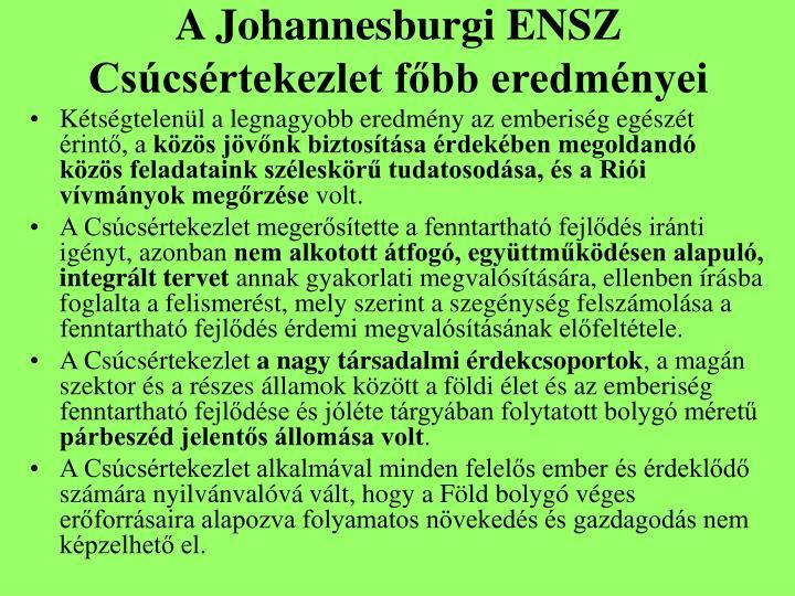 A Johannesburgi ENSZ Csúcsértekezlet főbb eredményei