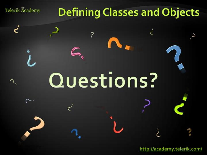 Defining Classes and Objects