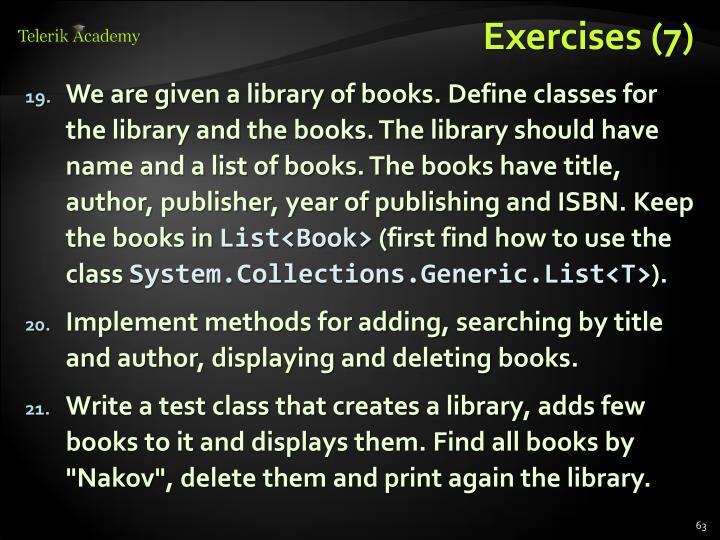 Exercises (7)