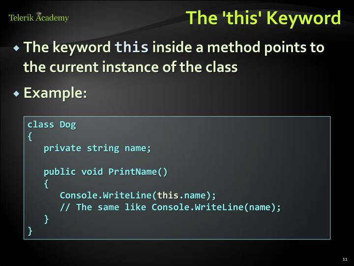 The 'this' Keyword