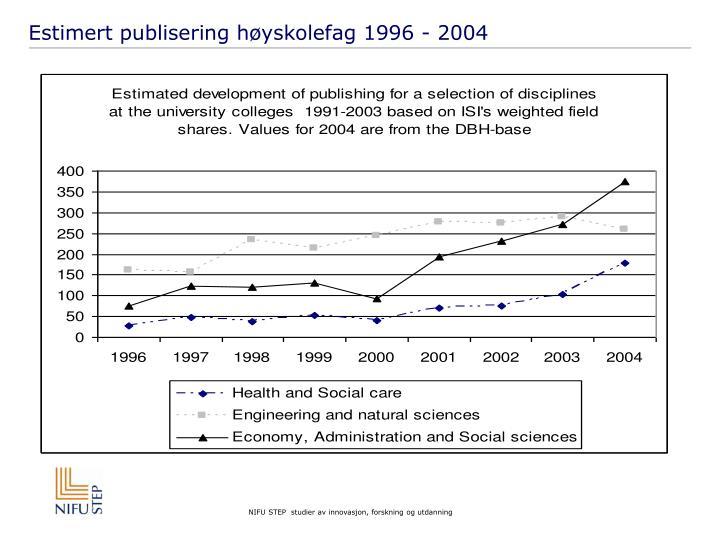 Estimert publisering høyskolefag 1996 - 2004