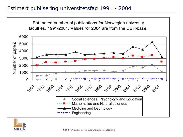 Estimert publisering universitetsfag 1991 - 2004