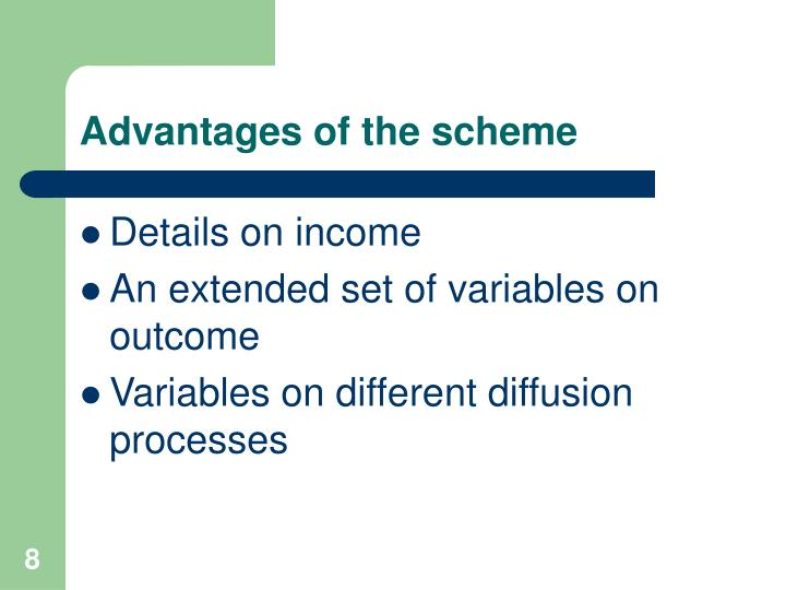 Advantages of the scheme
