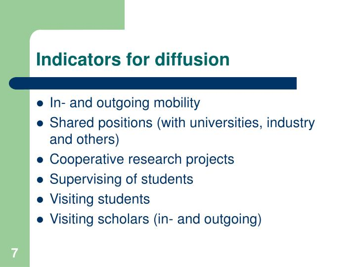 Indicators for diffusion