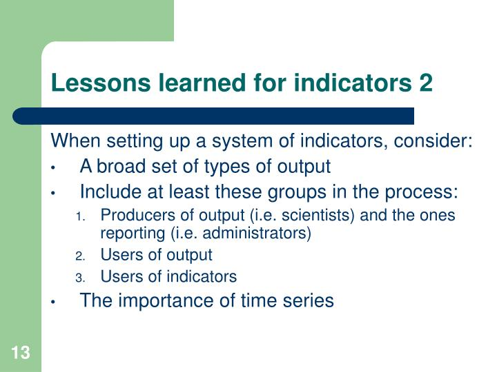 Lessons learned for indicators 2