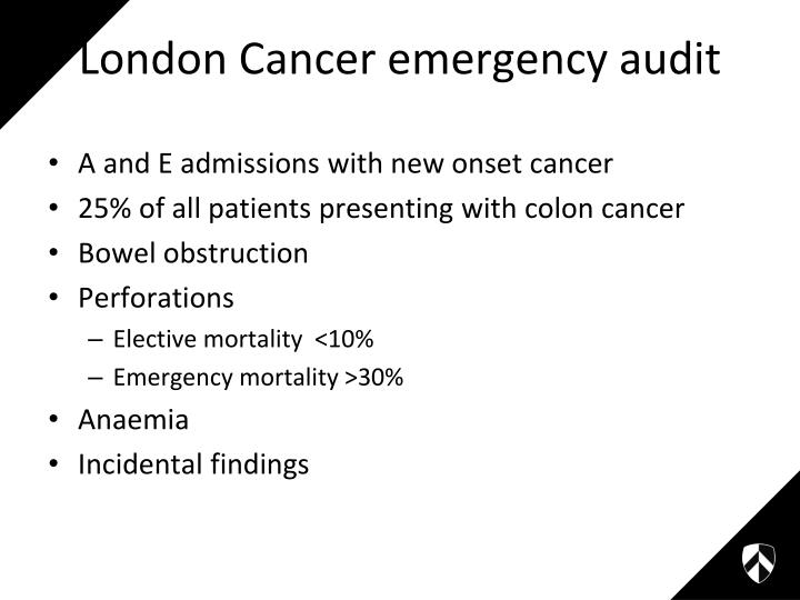 A and E admissions with new onset cancer