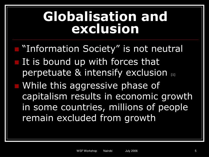 Globalisation and exclusion