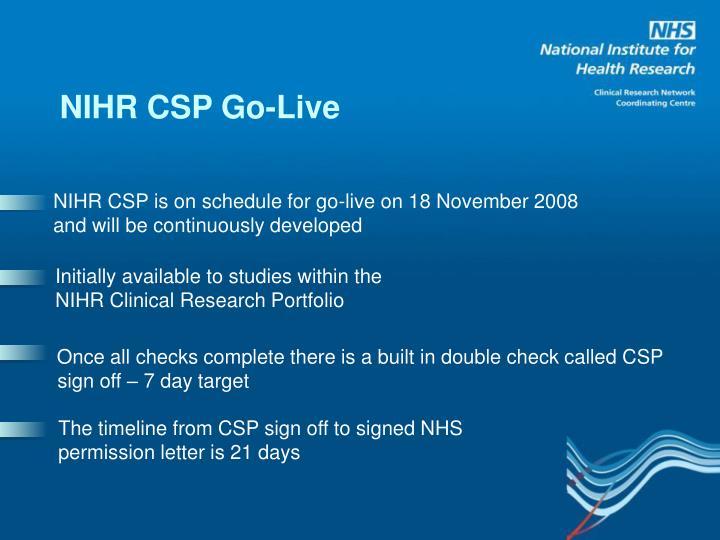 NIHR CSP Go-Live