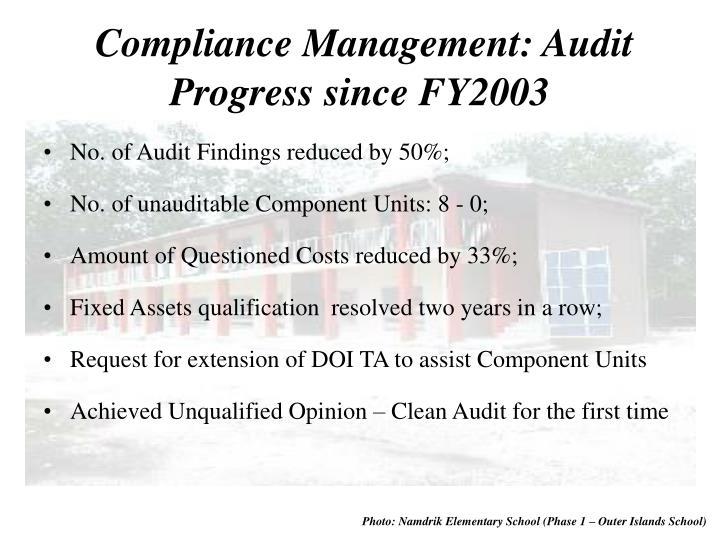 Compliance Management: Audit Progress since FY2003