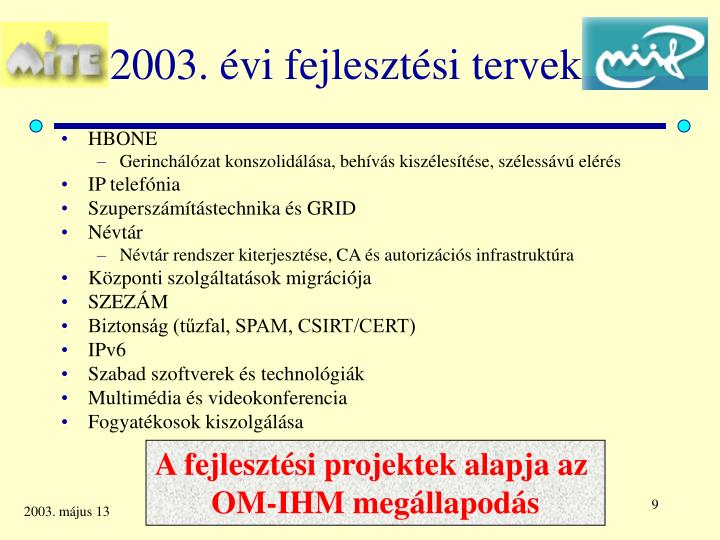 2003. évi fejlesztési tervek