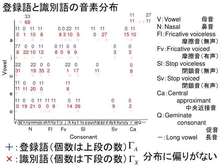 登録語と識別語の音素分布