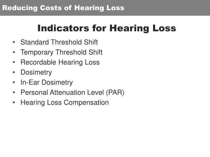 Reducing Costs of Hearing Loss