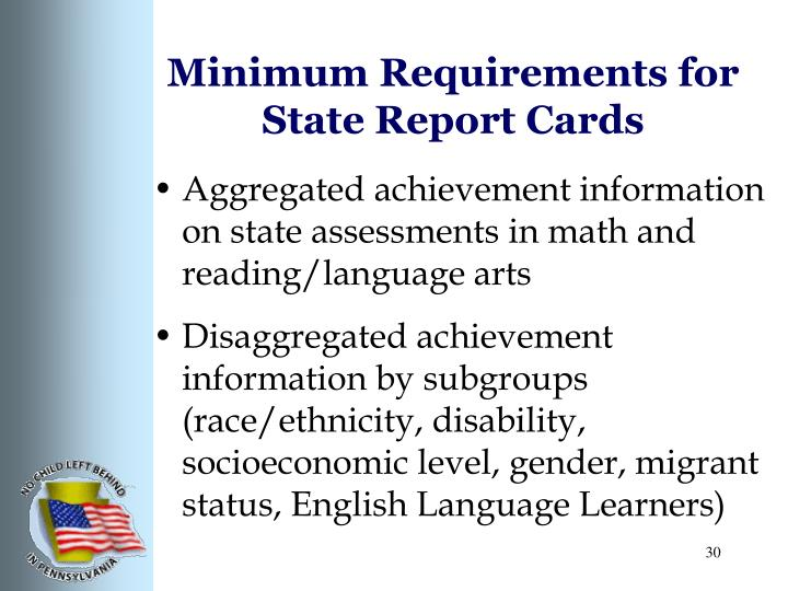 Minimum Requirements for State Report Cards