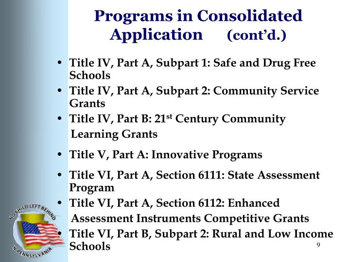 Programs in Consolidated Application