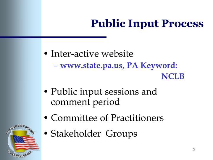Public Input Process