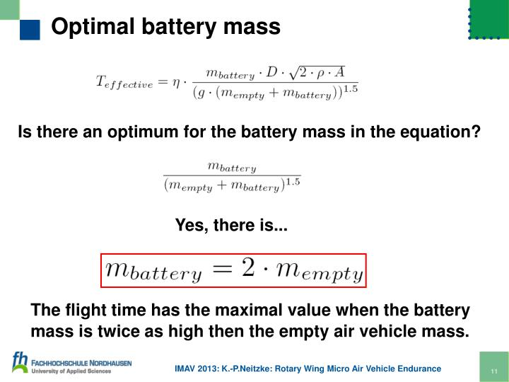 Optimal battery mass