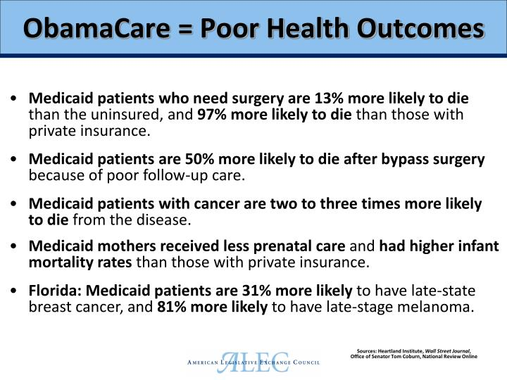 ObamaCare = Poor Health Outcomes