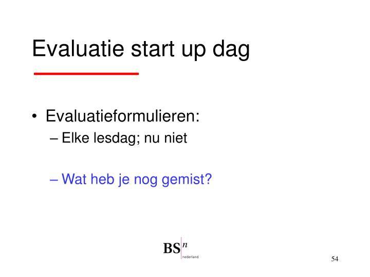 Evaluatie start up dag