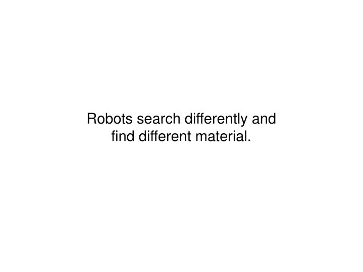 Robots search differently and