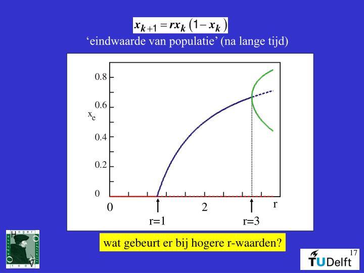 'eindwaarde van populatie' (na lange tijd)