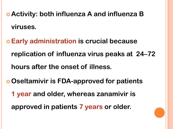 Activity: both influenza A and influenza B viruses.