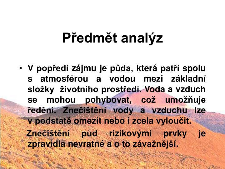 Předmět analýz