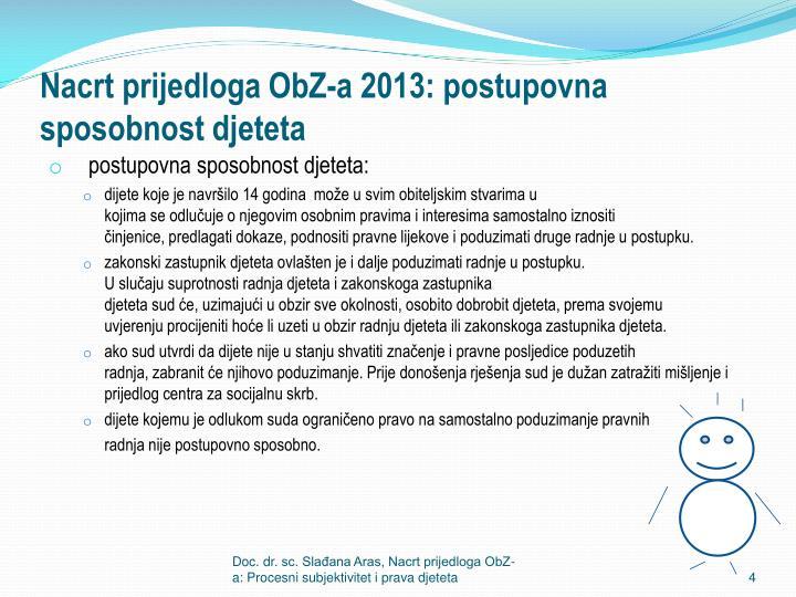 Nacrt prijedloga ObZ-a 2013: postupovna sposobnost djeteta