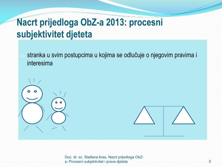 Nacrt prijedloga ObZ-a 2013: procesni subjektivitet djeteta