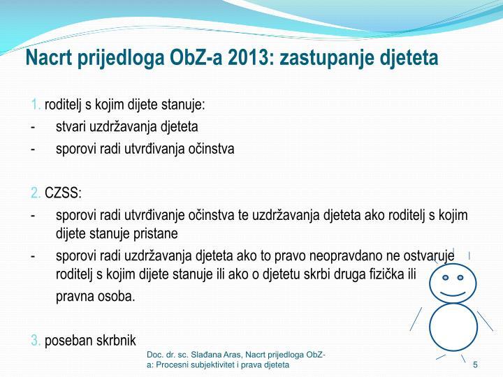 Nacrt prijedloga ObZ-a 2013: zastupanje djeteta