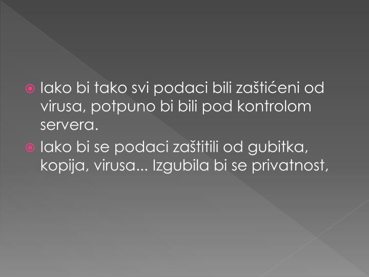 Iako bi tako svi podaci bili zaštićeni od virusa, potpuno bi bili pod kontrolom servera.