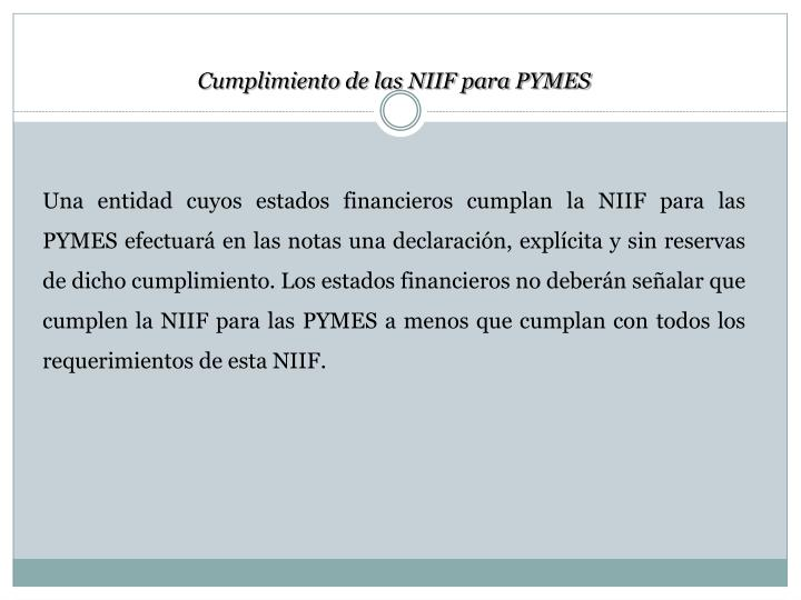 Cumplimiento de las NIIF para PYMES