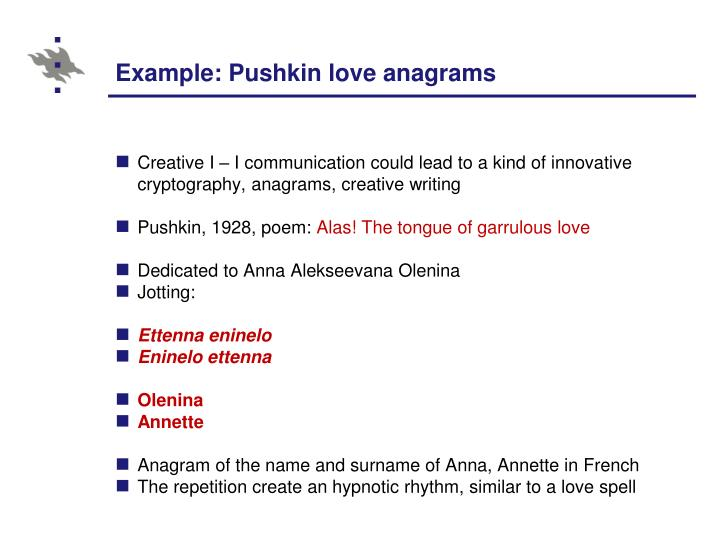 Example: Pushkin love anagrams