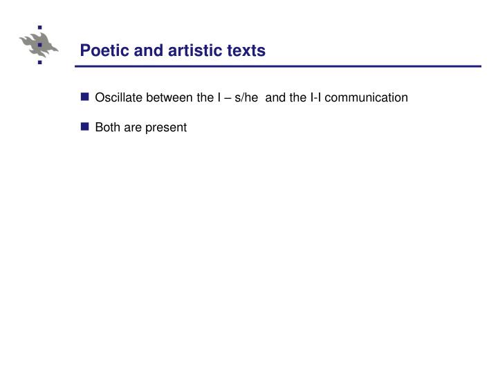 Poetic and artistic texts