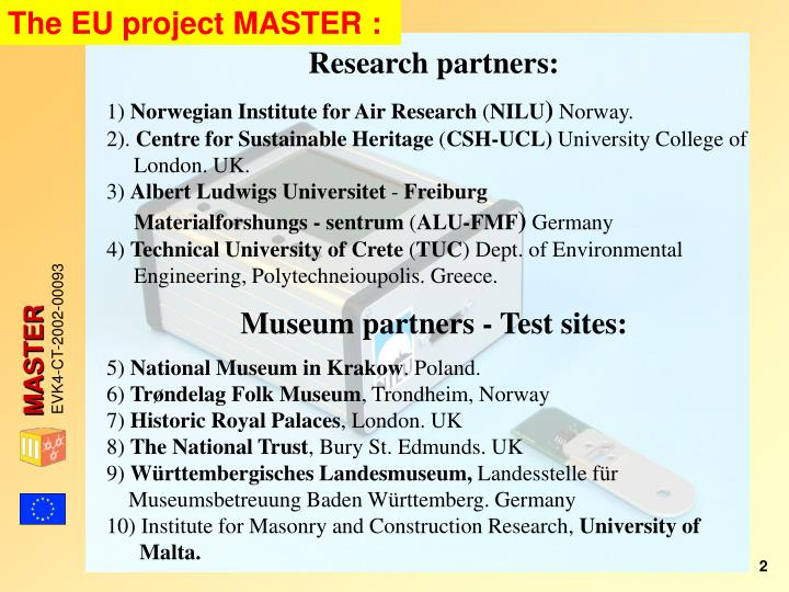 The EU project MASTER :