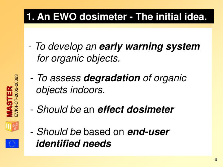 1. An EWO dosimeter - The initial idea.