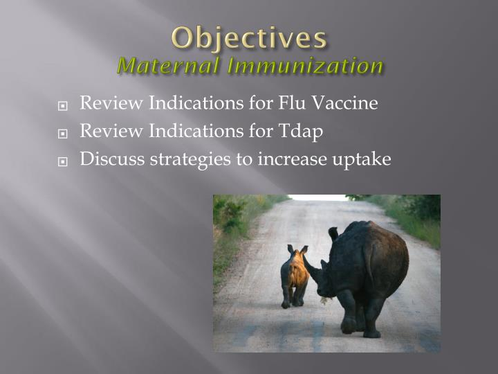 Objectives maternal immunization