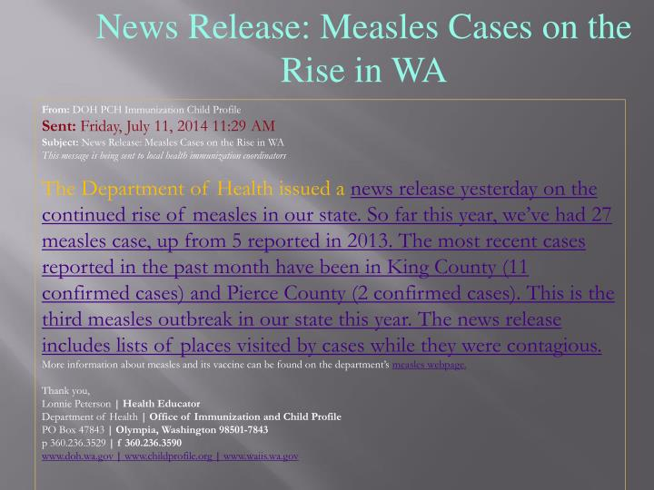 News Release: Measles Cases on the Rise in WA