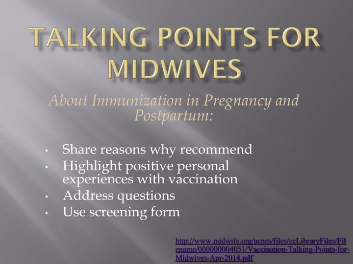 Talking Points for Midwives