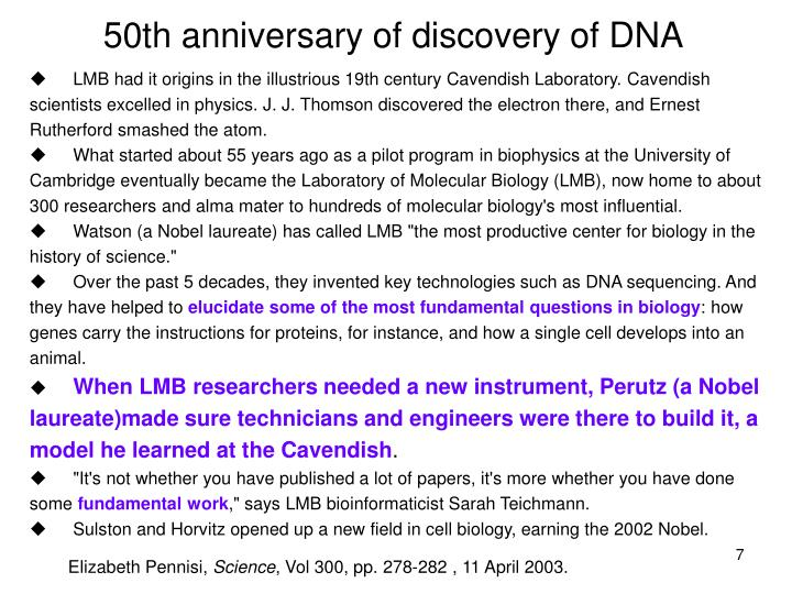 50th anniversary of discovery of DNA