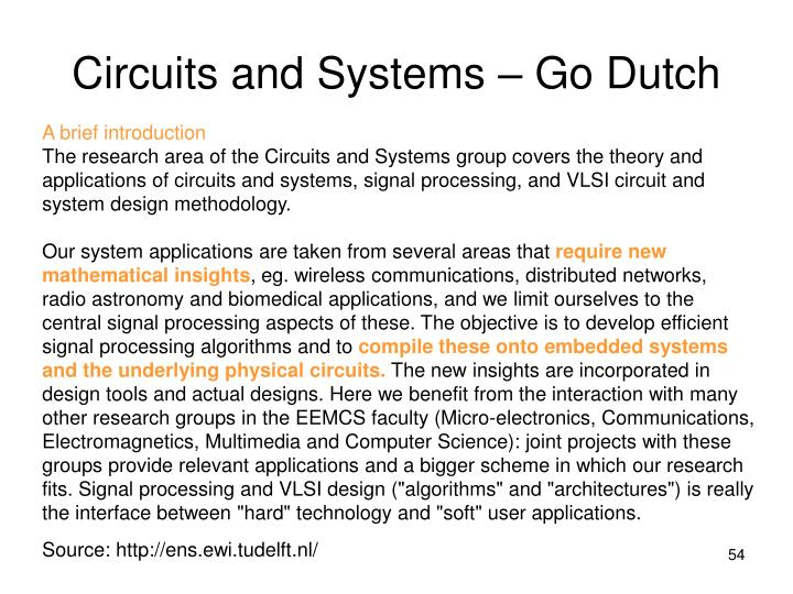 Circuits and Systems – Go Dutch