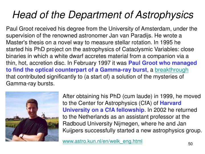 Head of the Department of Astrophysics