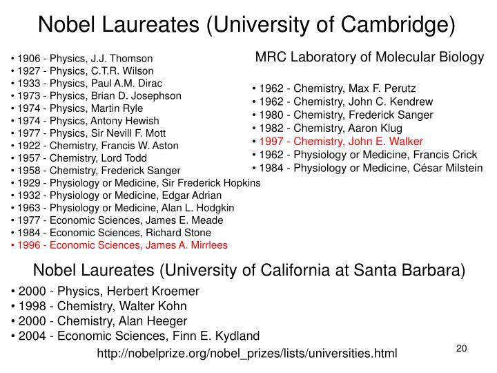 Nobel Laureates (University of Cambridge)