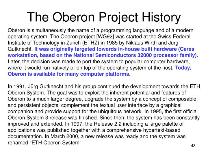 The Oberon Project History