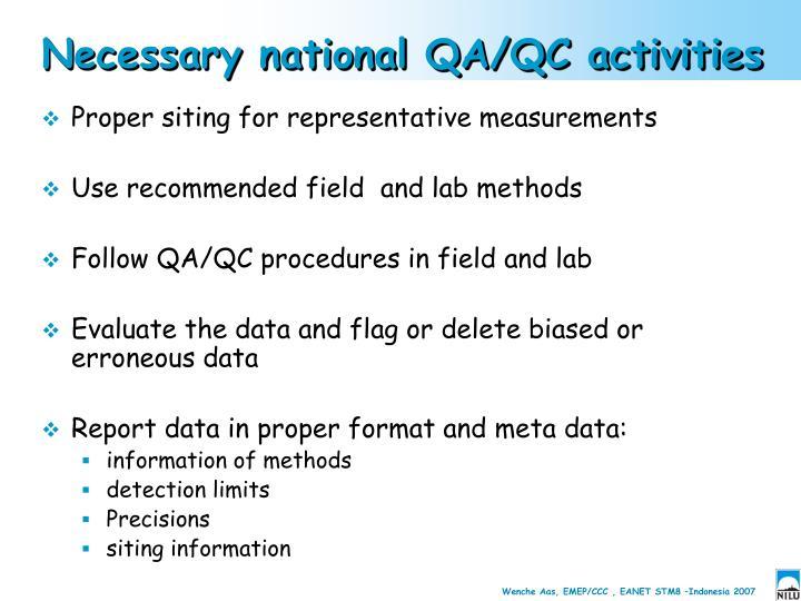 Necessary national QA/QC activities