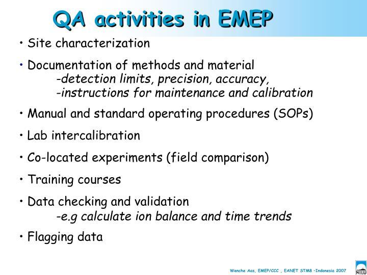 QA activities in EMEP