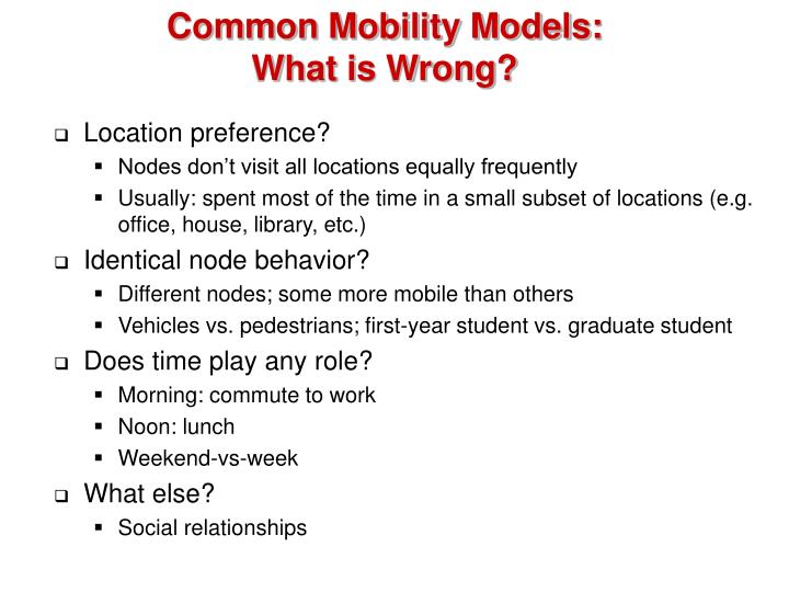 Common Mobility Models: