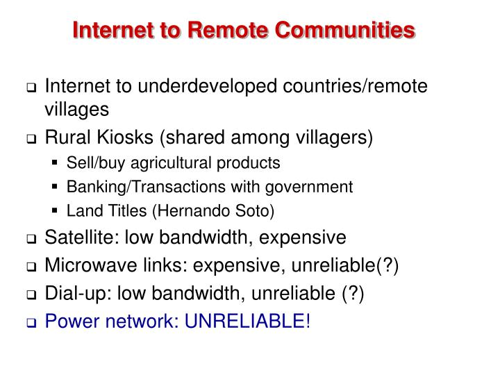 Internet to Remote Communities