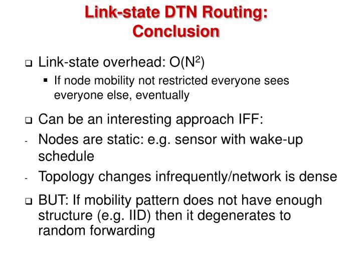 Link-state DTN Routing: Conclusion